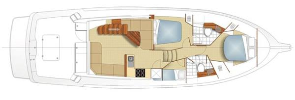 Maritimo 470 Offshore Convertible Accommodation Layout