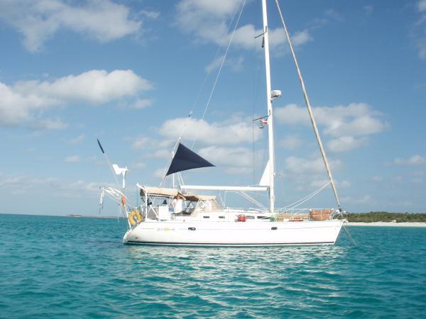 Jeanneau Sun Odyssey 37 At anchor in the Bahamas