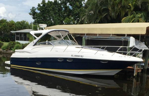 Regal 3760 Commodore At the dock