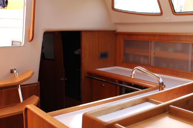 Access to aft cabin from galley/saloon
