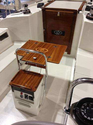 Optional Teak Cockpit Table and Standard Hatch Boards for Companionway