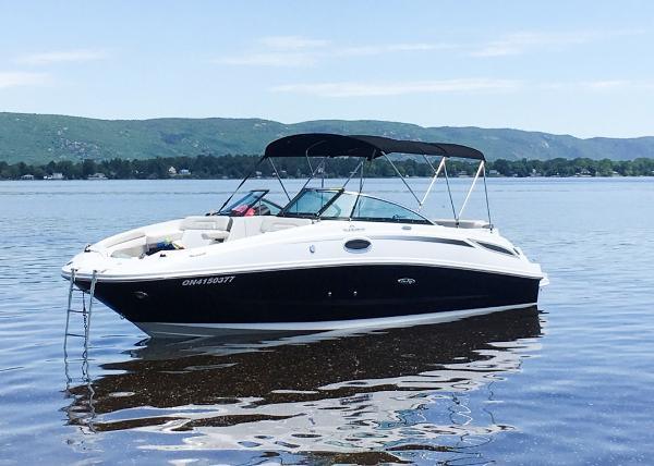 Sea Ray 260 Sundeck At Anchor with Bow Ladder Down