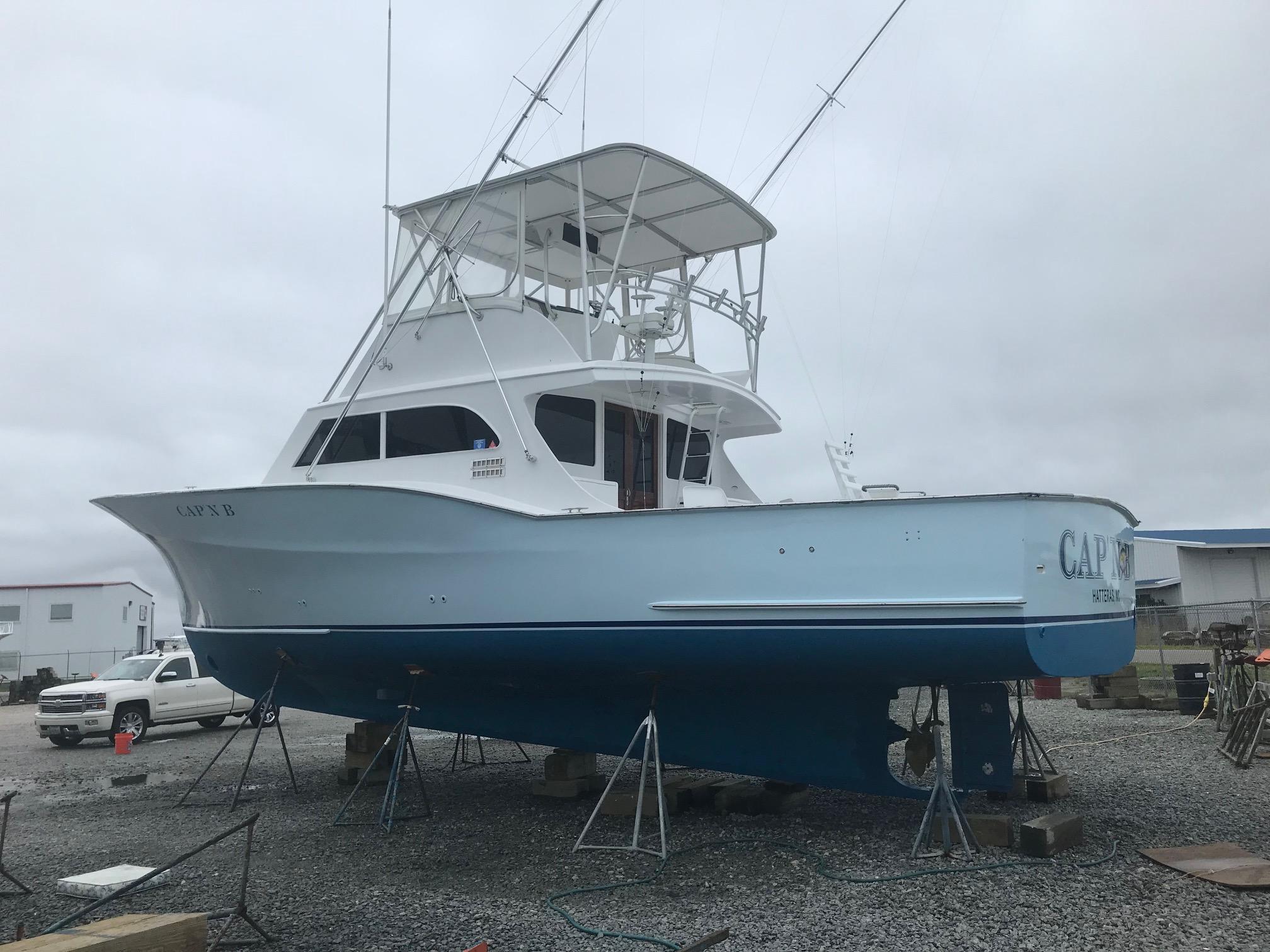"Jarvis Newman 46 Custom Carolina Charter 46' Jarvis Newman ""Cap'n B"", port quarter, Fresh bottom paint and hull polish 8/1/18"