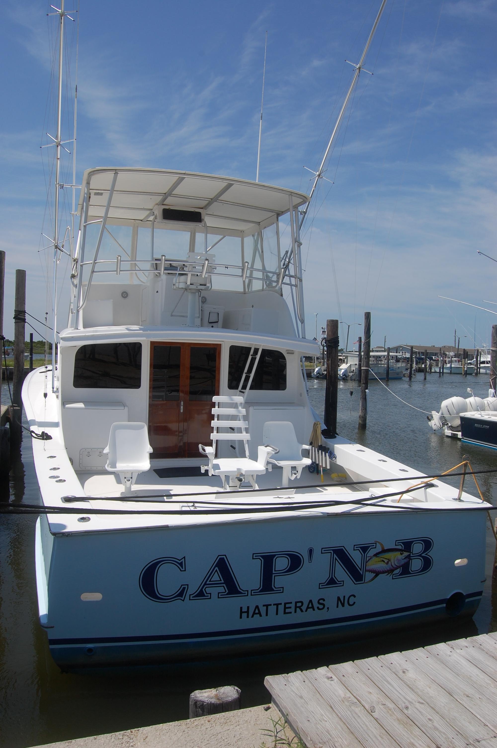 "Jarvis Newman 46 Custom Carolina Charter 46' Jarvis Newman ""Cap'n B"",  in the slip"