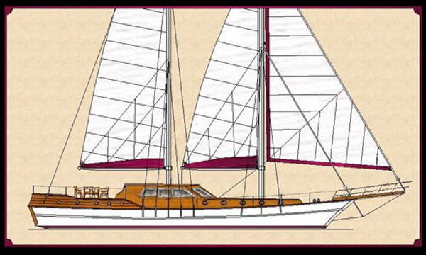 Custom Built Motorsailer Proj. Side view