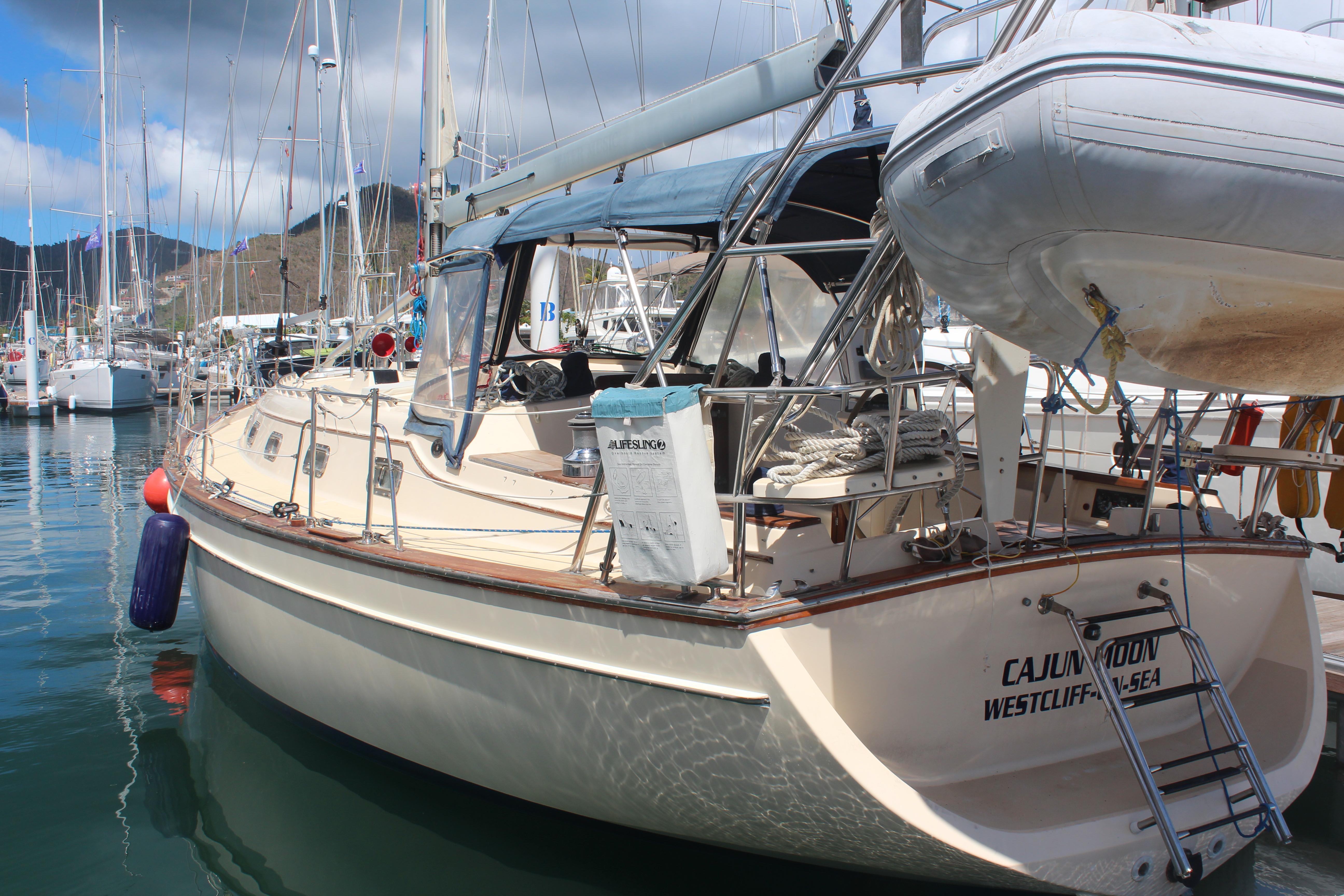Island Packet 420 Dockside at Nanny Cay