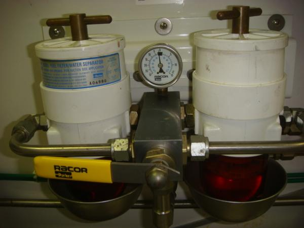 67' Lyman-Morse starboard generator Racor fuel filters