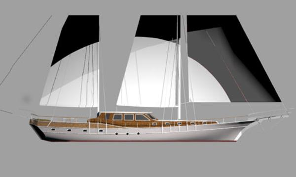 Custom Gulet Motorsailer Project Side view