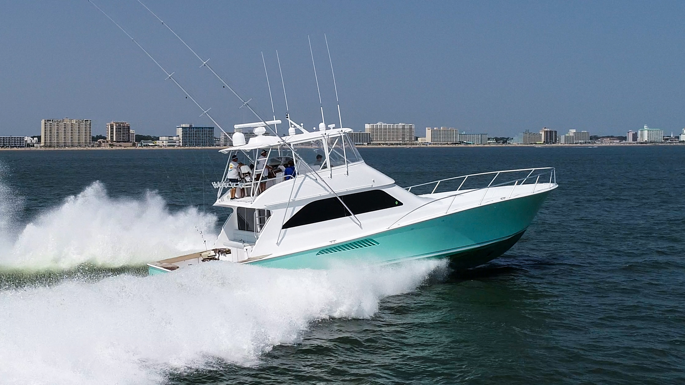"Viking 61 Convertible 2003 Viking 61c ""Reel Naughty"", stbd running picture"