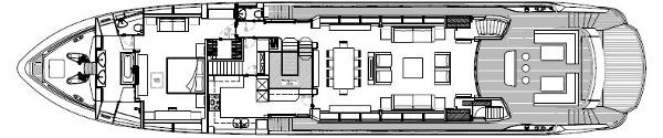 Sunseeker 115 Sport Yacht Main Deck Layout Plan