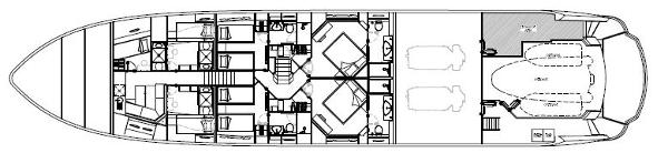 Sunseeker 115 Sport Yacht Lower Deck Layout Plan