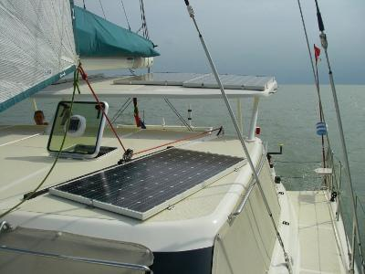 GreenCat 445 with solar panels on saloon and bimini