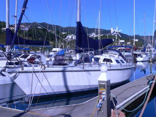 Joubert 12m Steel Cruising Yacht In marina