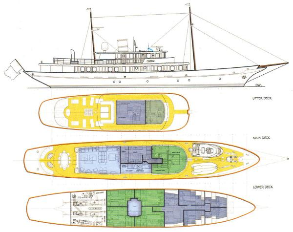 Yachworld.L.t.d Turkey Classic Design Motoryacht Project Layout