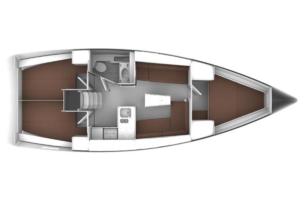 Bavaria Cruiser 37 Lower Deck Layout Plan