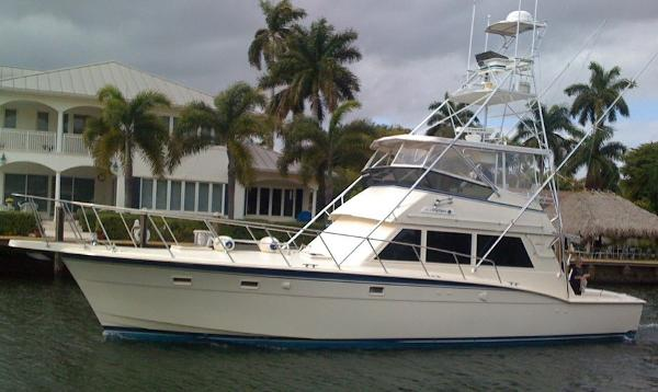 Hatteras 52 Convertible w/Tower Port Side Profile