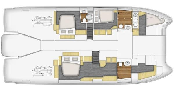 Fountaine Pajot Queensland 55 Lower Deck 3 Cabin Layout Plan