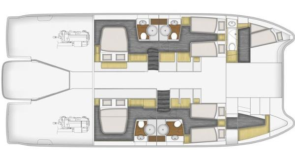 Fountaine Pajot Queensland 55 Lower Deck 4 Cabin + Crew Cabin Layout Plan