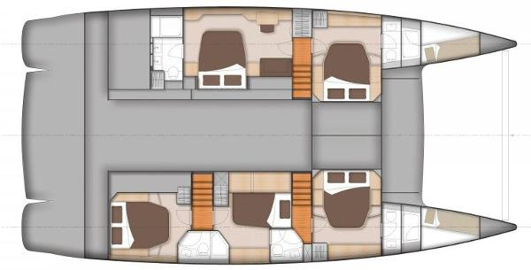 Fountaine Pajot Sanya 57 Lower Deck 5 Cabin Layout Plan