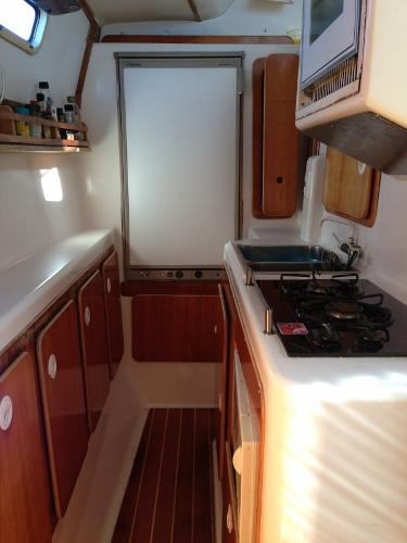 Galley with Propane Stove & Refrigeration!
