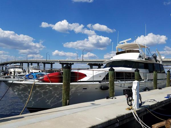 Bertram 70 Motor Yacht Port Bow Profile