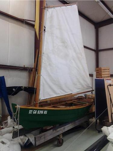Custom Made Wooden Row/Sailboat With Sail