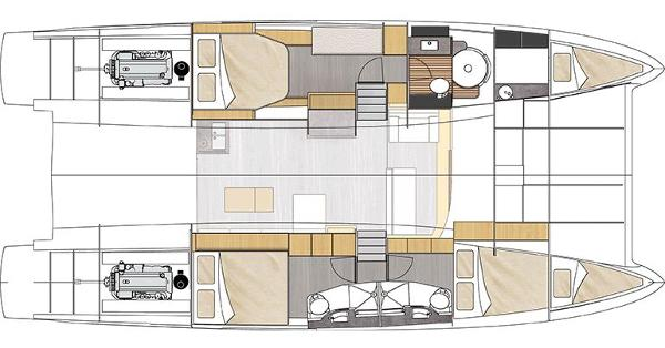 Fountaine Pajot Cumberland 47 LC Lower Deck Layout Plan