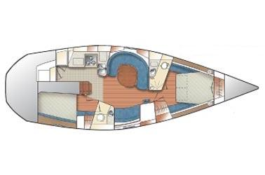 Catalina 42 MkII Manufacturer Provided Image: 2-Cabin centerline layout.