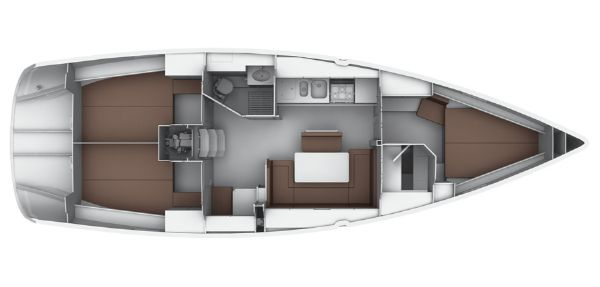 Bavaria 40S Cruiser Lower Deck Layout Plan