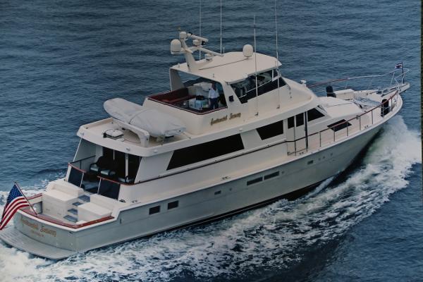 Hatteras 74 Custom Cockpit Motor Yacht Starboard Profile