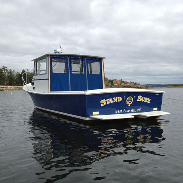 Webbers Cove Downeast pilot house cruiser From the Transom