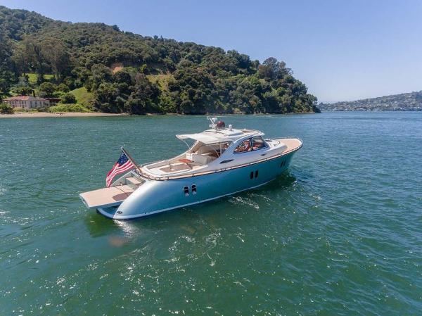Zeelander Z44 Downeast Express Cruiser Starboard Aft Quarter with Sunpad Open