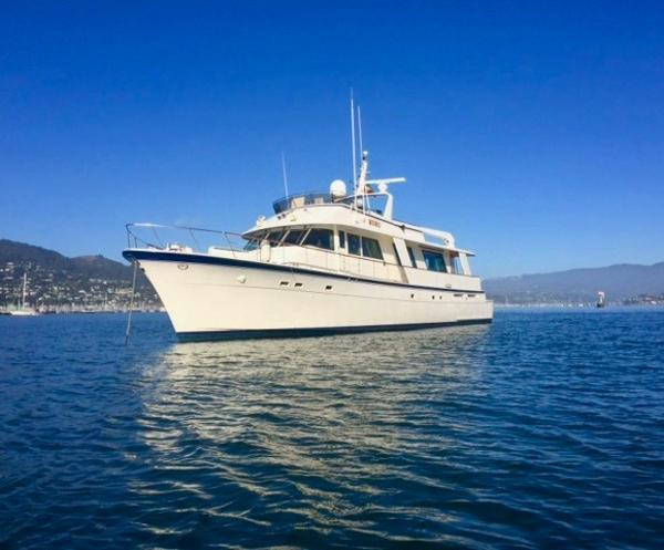 Hatteras 77 Cockpit Motor Yacht Sitting in the San Francisco Bay