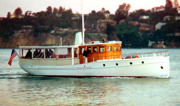Broadway   classic fantail motoryacht White Heron underway