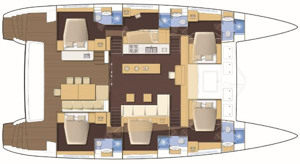 Lagoon 620 6 Cabin, Central Galley Layout Plan