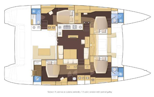 Lagoon 560 S2 4 Cabin Layout Plan