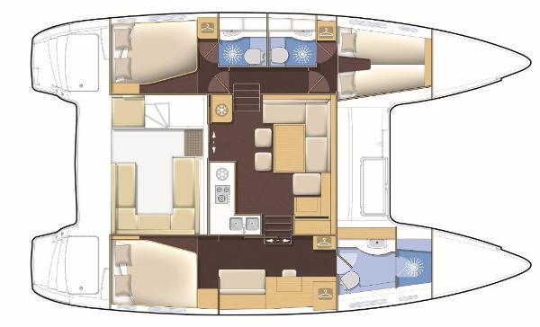 Lagoon 400 S2 3 Cabin 3 Bathroom Layout Plan