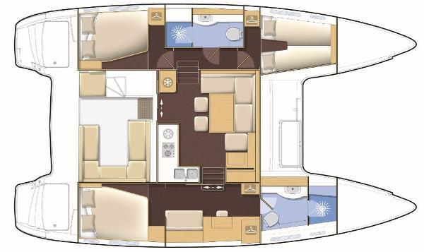 Lagoon 400 S2 3 Cabin 2 Bathroom Layout Plan