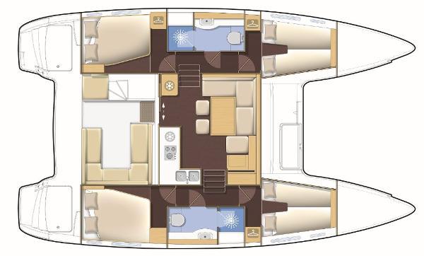 Lagoon 400 S2 4 Cabin 2 Bathroom Layout Plan