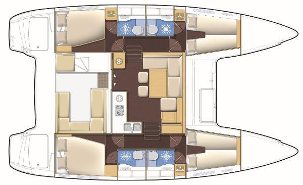Lagoon 400 S2 4 Cabin 4 Bathroom Layout Plan