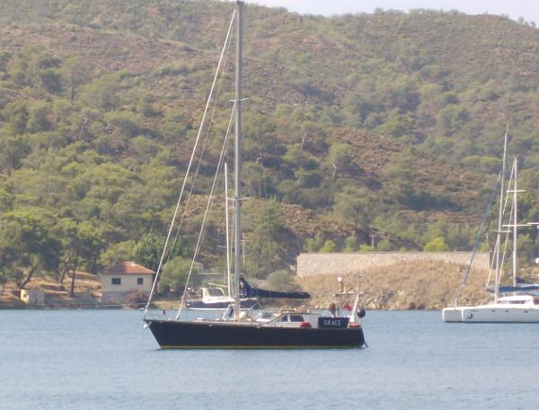 Dudley Dix 43 Pilot At anchor