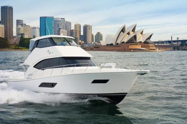 Riviera ENCLOSED FLYBRIDGE- ORDER! Riviera Yachts 52 Flybridge Running in Sydney Harbor