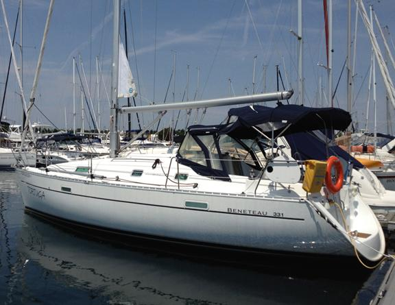 Beneteau 331 Dodger and Bimini and in mast furling