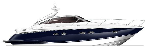Princess V45 Profile Blue Hull