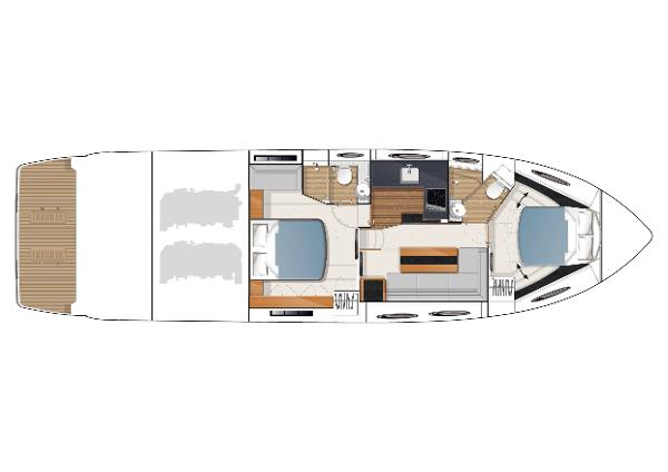 Princess V52 Lower Accommodation Layout