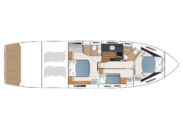 Princess V52 Optional Lower Accommodation Layout