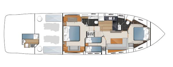 Princess V62-S Lower Deck Layout