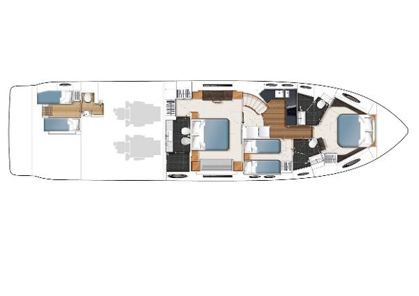 Princess V72 Lower Accommodation LAyout