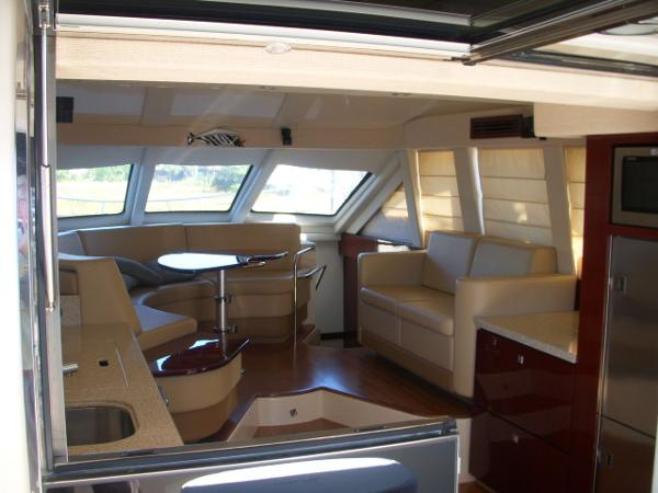 Cockpit- Looking thru open window /Galley to Salon, Dinnette