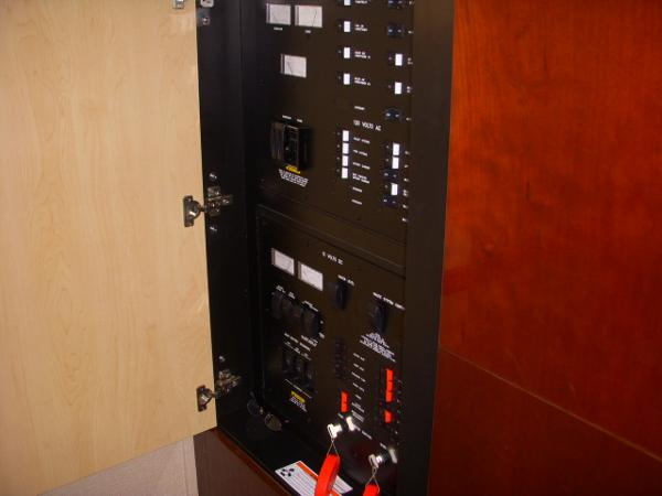 Main Control Panel- Cabinets at bottom of Steps